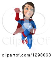 Clipart Of A 3d Young Brunette White Female Super Hero In A Blue And Red Suit Smiling And Flying Royalty Free Illustration by Julos