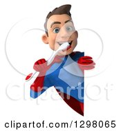 Clipart Of A 3d Young Brunette White Male Super Hero Dentist In A Blue And Red Suit Holding A Giant Toothbrush Around A Sign Royalty Free Illustration
