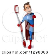 Clipart Of A 3d Full Length Young Brunette White Male Super Hero Dentist In A Blue And Red Suit Holding A Giant Toothbrush Around A Sign Royalty Free Illustration