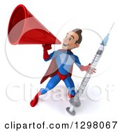 Clipart Of A 3d Young Brunette White Male Super Hero In A Blue And Red Suit Announcing With A Megaphone And Holding A Giant Vaccine Syringe Royalty Free Illustration