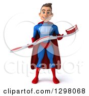 Clipart Of A 3d Young Brunette White Male Super Hero Dentist In A Blue And Red Suit Holding A Giant Toothbrush Royalty Free Illustration