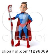 Clipart Of A 3d Young Brunette White Male Super Hero Dentist In A Blue And Red Suit Standing With A Giant Toothbrush Royalty Free Illustration