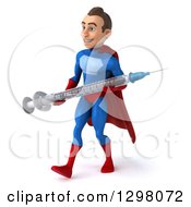 Clipart Of A 3d Young Brunette White Male Super Hero In A Blue And Red Suit Walking To The Left And Holding A Giant Vaccine Syringe Royalty Free Illustration