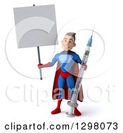 Clipart Of A 3d Young Brunette White Male Super Hero In A Blue And Red Suit Holding A Blank Sign And A Giant Vaccine Syringe Royalty Free Illustration