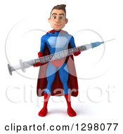 Clipart Of A 3d Young Brunette White Male Super Hero In A Blue And Red Suit Holding A Giant Vaccine Syringe Royalty Free Illustration
