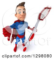 Clipart Of A 3d Young Brunette White Male Super Hero Dentist In A Blue And Red Suit Holding Up A Thumb Down And A Giant Toothbrush Royalty Free Illustration