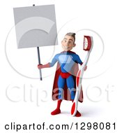 Clipart Of A 3d Young Brunette White Male Super Hero Dentist In A Blue And Red Suit Holding A Blank Sign And A Giant Toothbrush Royalty Free Illustration