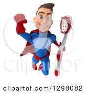 Clipart Of A 3d Young Brunette White Male Super Hero Dentist In A Blue And Red Suit Flying With A Giant Toothbrush Royalty Free Illustration