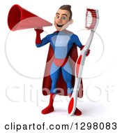 Clipart Of A 3d Young Brunette White Male Super Hero Dentist In A Blue And Red Suit Announcing With A Megaphone And Holding A Giant Toothbrush Royalty Free Illustration