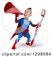 Clipart Of A 3d Young Brunette White Male Super Hero Dentist In A Blue And Red Suit Announcing Upwards With A Megaphone And Holding A Giant Toothbrush Royalty Free Illustration