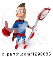 Clipart Of A 3d Young Brunette White Male Super Hero Dentist In A Blue And Red Suit Holding Up A Thumb And A Giant Toothbrush Royalty Free Illustration