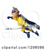 Clipart Of A 3d Muscular White Male Super Hero In A Yellow And Blue Suit Flying To The Left With A Vaccine Syringe Royalty Free Illustration