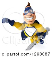 Clipart Of A 3d Muscular White Male Super Hero In A Yellow And Blue Suit Flying With A Partial Viewed Vaccine Syringe Royalty Free Illustration