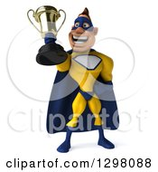 Clipart Of A 3d Muscular White Male Super Hero In A Yellow And Blue Suit Excitedly Holding A Trophy Royalty Free Illustration