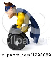 Clipart Of A 3d Muscular White Male Super Hero In A Yellow And Blue Suit Facing Left And Picking Up A Heavy Barbell Royalty Free Illustration