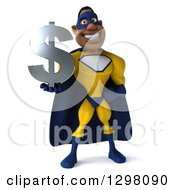 Clipart Of A 3d Muscular White Male Super Hero In A Yellow And Blue Suit Holding A Dollar Currency Symbol Royalty Free Illustration