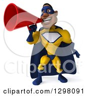 Clipart Of A 3d Muscular White Male Super Hero In A Yellow And Blue Suit Announcing With A Megaphone Royalty Free Illustration by Julos