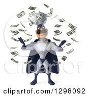 Clipart Of A 3d Caucasian Male Super Chef In A Blue And White Suit Making It Rain Money Royalty Free Illustration