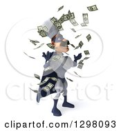 Clipart Of A 3d Caucasian Male Super Chef In A Blue And White Suit Facing Right And Making It Rain Money Royalty Free Illustration