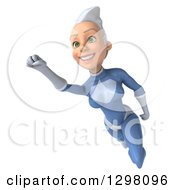 Clipart Of A 3d White Haired Caucasian Female Super Hero In A Blue Suit Smiling And Flying Slightly Left Royalty Free Illustration by Julos
