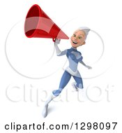 Clipart Of A 3d White Haired Caucasian Female Super Hero In A Blue Suit Announcing With A Megaphone Royalty Free Illustration by Julos
