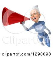 Clipart Of A 3d White Haired Caucasian Female Super Hero In A Blue Suit Flying And Announcing With A Megaphone Royalty Free Illustration by Julos