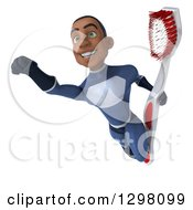 Clipart Of A 3d Young Black Male Super Hero Dark Blue Suit Flying With A Giant Toothbrush Royalty Free Illustration