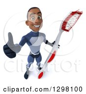 Clipart Of A 3d Young Black Male Super Hero Dark Blue Suit Holding Up A Thumb And A Giant Toothbrush Royalty Free Illustration