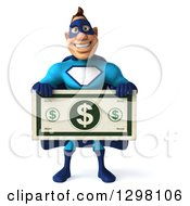 Clipart Of A 3d Caucasian Blue Male Super Hero Holding A Giant Dollar Bill Royalty Free Illustration