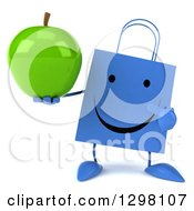 Clipart Of A 3d Happy Blue Shopping Or Gift Bag Character Holding And Pointing To A Green Apple Royalty Free Illustration