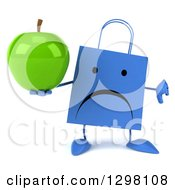 Clipart Of A 3d Unhappy Blue Shopping Or Gift Bag Character Holding A Thumb Down And A Green Apple Royalty Free Illustration