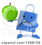 Clipart Of A 3d Unhappy Blue Shopping Or Gift Bag Character Holding And Pointing To A Green Apple Royalty Free Illustration