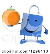 Clipart Of A 3d Happy Blue Shopping Or Gift Bag Character Holding A Navel Orange Royalty Free Illustration