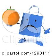 Clipart Of A 3d Unhappy Blue Shopping Or Gift Bag Character Shrugging And Holding A Navel Orange Royalty Free Illustration
