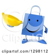 Clipart Of A 3d Happy Blue Shopping Or Gift Bag Character Holding A Banana Royalty Free Illustration