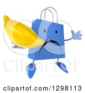 Clipart Of A 3d Unhappy Blue Shopping Or Gift Bag Character Facing Slightly Right Jumping And Holding A Banana Royalty Free Illustration
