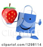 Clipart Of A 3d Happy Blue Shopping Or Gift Bag Character Giving A Thumb Up And Holding A Strawberry Royalty Free Illustration