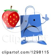 Clipart Of A 3d Unhappy Blue Shopping Or Gift Bag Character Holding Up A Finger And A Strawberry Royalty Free Illustration