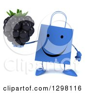 Clipart Of A 3d Happy Blue Shopping Or Gift Bag Character Holding A Blackberry Royalty Free Illustration