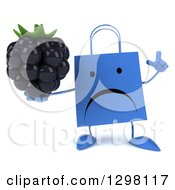 Clipart Of A 3d Unhappy Blue Shopping Or Gift Bag Character Holding Up A Finger And A Blackberry Royalty Free Illustration