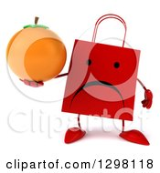 Clipart Of A 3d Unhappy Red Shopping Or Gift Bag Character Holding An Orange Royalty Free Illustration