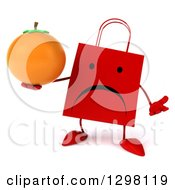 Clipart Of A 3d Unhappy Red Shopping Or Gift Bag Character Shrugging And Holding An Orange Royalty Free Illustration