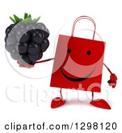 Clipart Of A 3d Happy Red Shopping Or Gift Bag Character Holding A Blackberry Royalty Free Illustration