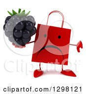 Clipart Of A 3d Unhappy Red Shopping Or Gift Bag Character Holding A Blackberry And Thumb Down Royalty Free Illustration