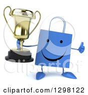 Clipart Of A 3d Happy Blue Shopping Or Gift Bag Character Holding A Thumb Up And Trophy Royalty Free Illustration