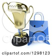 Clipart Of A 3d Happy Blue Shopping Or Gift Bag Character Holding Up A Trophy Royalty Free Illustration