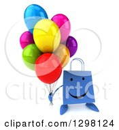 Clipart Of A 3d Happy Blue Shopping Or Gift Bag Character Holding Up Party Balloons Royalty Free Illustration