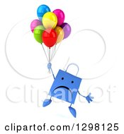 Clipart Of A 3d Unhappy Blue Shopping Or Gift Bag Character Floating With Party Balloons Royalty Free Illustration