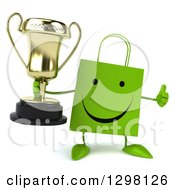 Clipart Of A 3d Happy Green Shopping Or Gift Bag Character Holding A Trophy And Thumb Up Royalty Free Illustration
