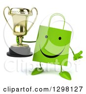 Clipart Of A 3d Happy Green Shopping Or Gift Bag Character Shrugging And Holding A Trophy Royalty Free Illustration